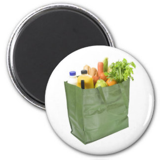 Reusable shopping bag full of groceries 2 inch round magnet