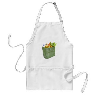 Reusable shopping bag full of groceries adult apron