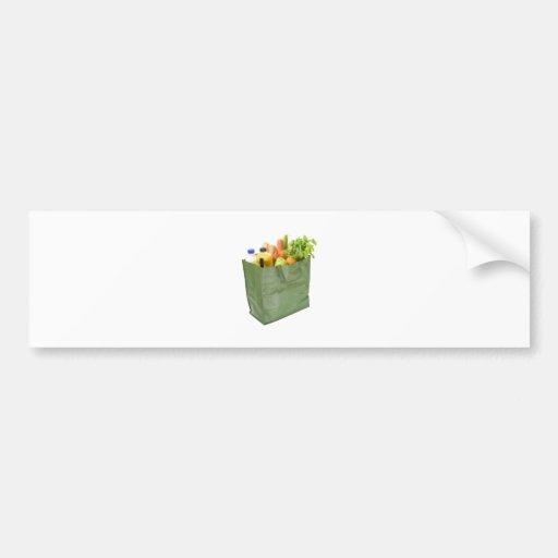 Reusable shopping bag full of groceries bumper sticker