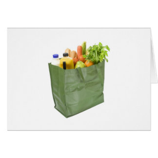 Reusable shopping bag full of groceries card