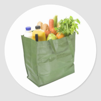 Reusable shopping bag full of groceries classic round sticker
