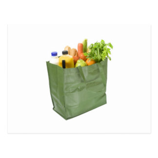 Reusable shopping bag full of groceries postcard