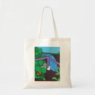 Hawaiian Themed Reusable tote shopping bag - cat