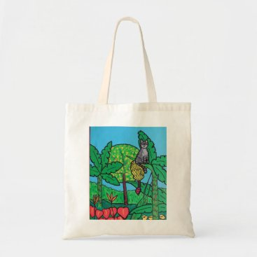 Hawaiian Themed Reusable tote shopping bag - cat in hawaii