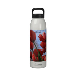 Reusable Water Bottle with Tulip Pattern