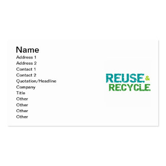 Reuse and Recycle T-shirts and Gifts Double-Sided Standard Business Cards (Pack Of 100)