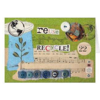 """reuse, recycle!"" notecard"