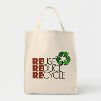 Reuse Reduce Recycle totebag Grocery Tote Bag