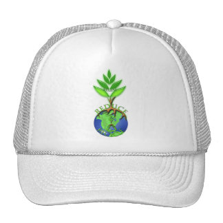 Reuse Reduce Recycle Tree Earth Globe Trucker Hat