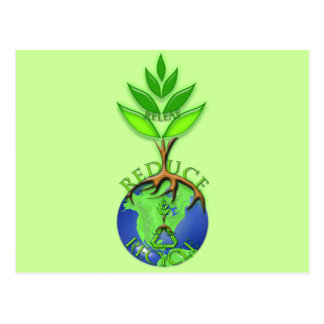 Reuse Reduce Recycle Tree Earth Globe Post Card