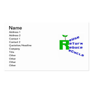 Reuse Return Reduce Recycle T shirts and Gifts Business Card Templates