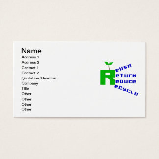 Reuse Return Reduce Recycle T shirts and Gifts Business Card
