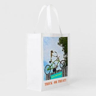 "Reuseable ""Trick Or Treat"" Bag/SKELETON ON BIKE Reusable Grocery Bag"