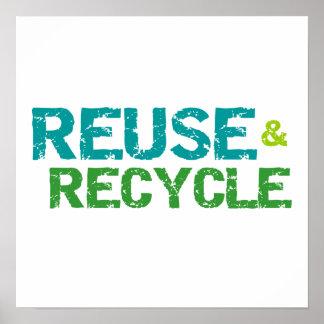 Reutilice y recicle las camisetas y los regalos póster