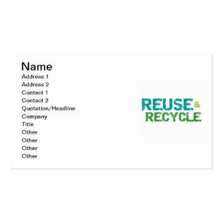 Reutilice y recicle las camisetas y los regalos tarjetas de visita
