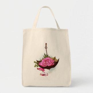 Reutilizable subió rosa respetuoso del medio bolsa tela para la compra