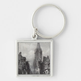 Reutlingen, engraved by J.J. Crew Silver-Colored Square Keychain