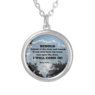 Rev. 3:20 Behold I stand at the door and knock... Custom Necklace