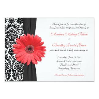 Rev coralino de la invitación del boda del damasco