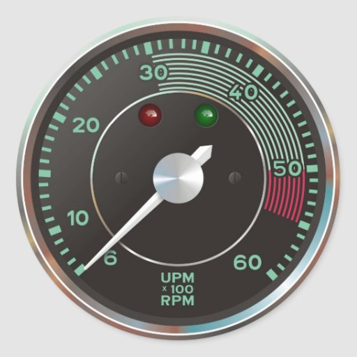 Rev counter / tachometer from classic sports car stickers