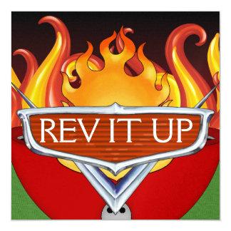 """¡Rev It Up! - Bbq - Autodisparo del chile Invitación 5.25"""" X 5.25"""""""