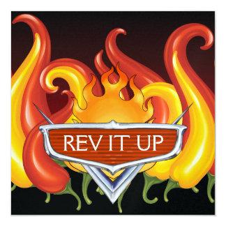 """¡Rev It Up! - Bbq - Barbacoa Invitación 5.25"""" X 5.25"""""""