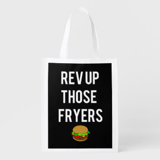 Rev Up Those Fryers Reusable Grocery Bag (White)