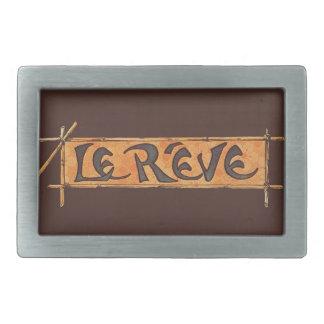 Reve Dream French Steinlen 1880s Vintage Brown Rectangular Belt Buckles