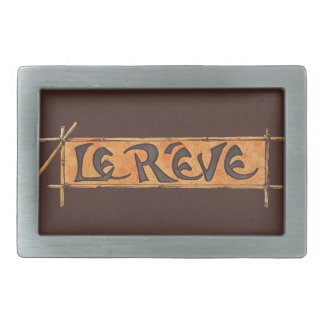Reve Dream French Steinlen 1880s Vintage Brown Rectangular Belt Buckle