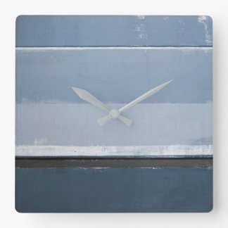 'Reveal' Blue and Grey Abstract Art Square Wall Clock