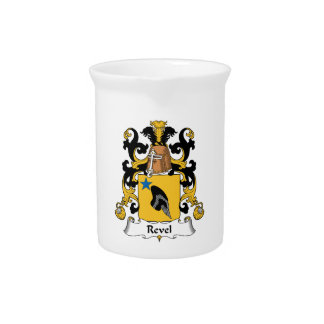 Revel el escudo de la familia jarras para bebida