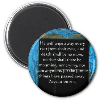 Revelación 21 del verso de la biblia de la imán redondo 5 cm