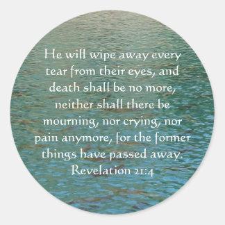 Revelación 21 del verso de la biblia de la pegatina redonda