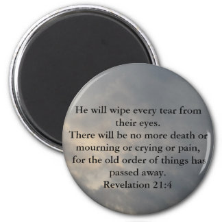 Revelation 21:4 2 inch round magnet