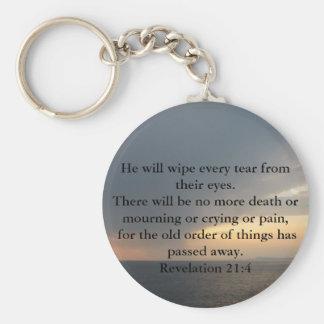 Revelation 21:4 basic round button keychain