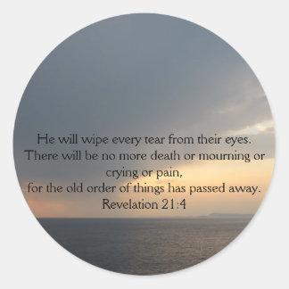Revelation 21:4 classic round sticker