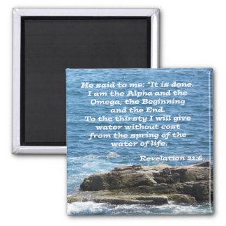 Revelation 21:6 2 inch square magnet