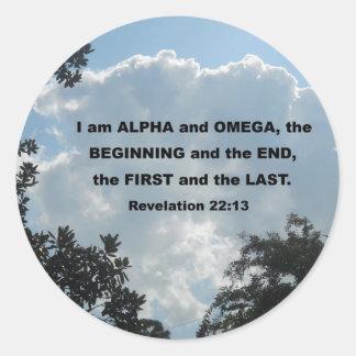 Revelation 22:13 I am Alpha and Omega... Classic Round Sticker