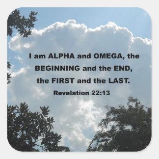 Revelation 22:13 I am Alpha and Omega... Square Sticker