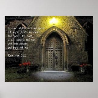 Revelation 3:20 Church Door Print