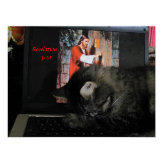 Revelation 3:20 with praying cat poster