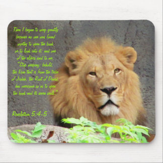 Revelation 5:4-5 with Male Lion Mouse Pad
