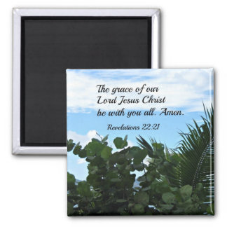 Revelations 22:21 2 inch square magnet