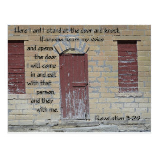 Revelations 3:20 postcard