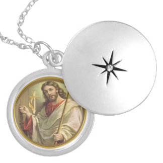 Revelations 3:20 products round locket necklace