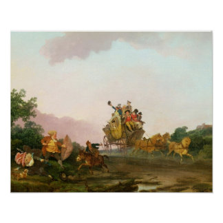 Revellers on a Coach, c.1785-90 (oil on canvas) Poster