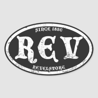 Revelstoke Black Grunge Oval Sticker