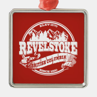 Revelstoke Old Circle Red Square Metal Christmas Ornament