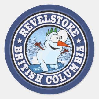Revelstoke Snowman Circle Classic Round Sticker