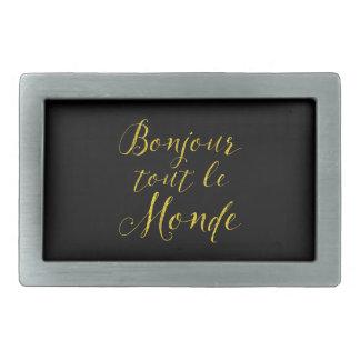 ¡Revendedor Le Monde de Bonjour - hola todos! Hebilla Cinturón Rectangular